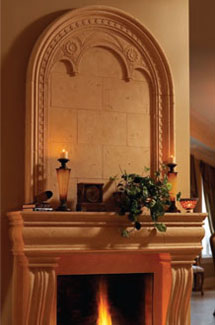 Monaco stone fireplace overmantle surround in Philadelphia