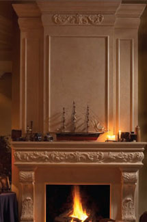 Regal stone fireplace overmantle surround in Philadelphia