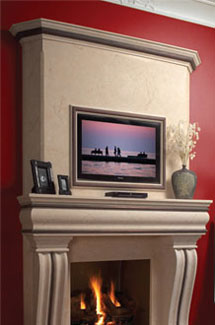 Tuscan stone fireplace overmantle surround in Philadelphia