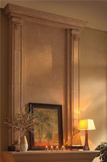 Valencia stone fireplace overmantle surround in Philadelphia